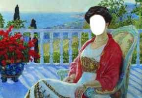 """The lady on a balcony"" Bogdanov-Belskiy N."